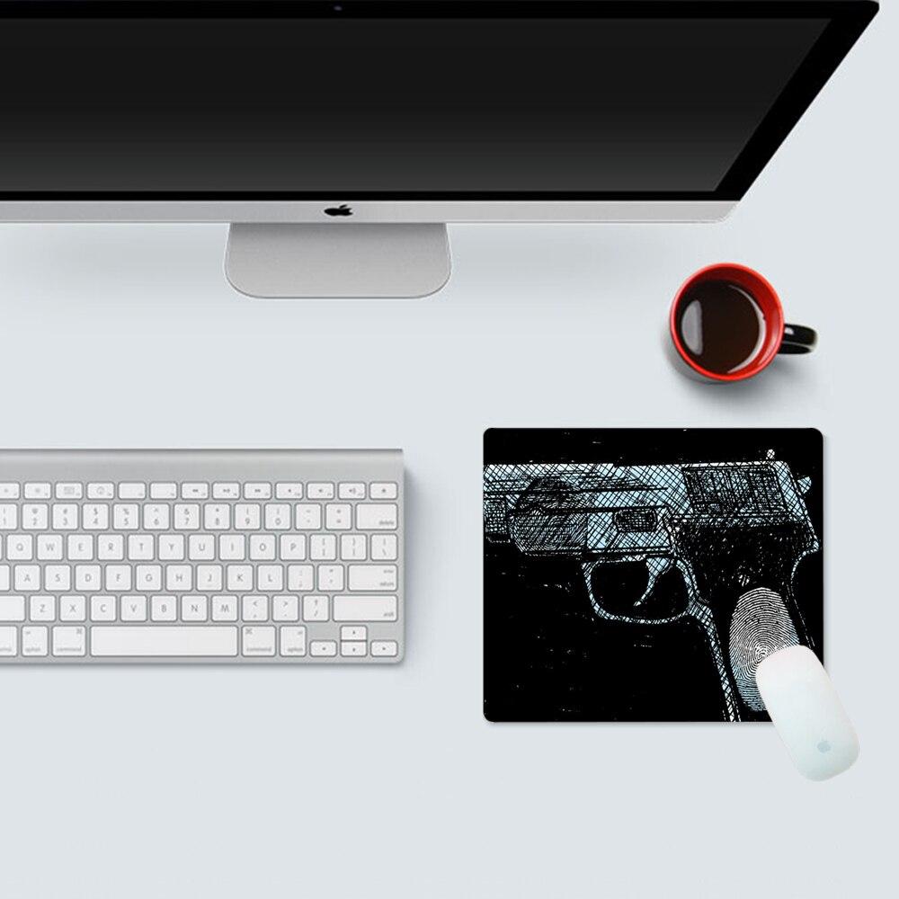 Купить отпечаток пальца шаблон пистолет черная ткань коврик для мыши