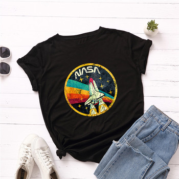 Summer Plus Size Shirt S-5XL New ROCKET Print TShirt Women 100%Cotton O Neck Short Sleeve Tees Casual Tops Woman TShirts 1