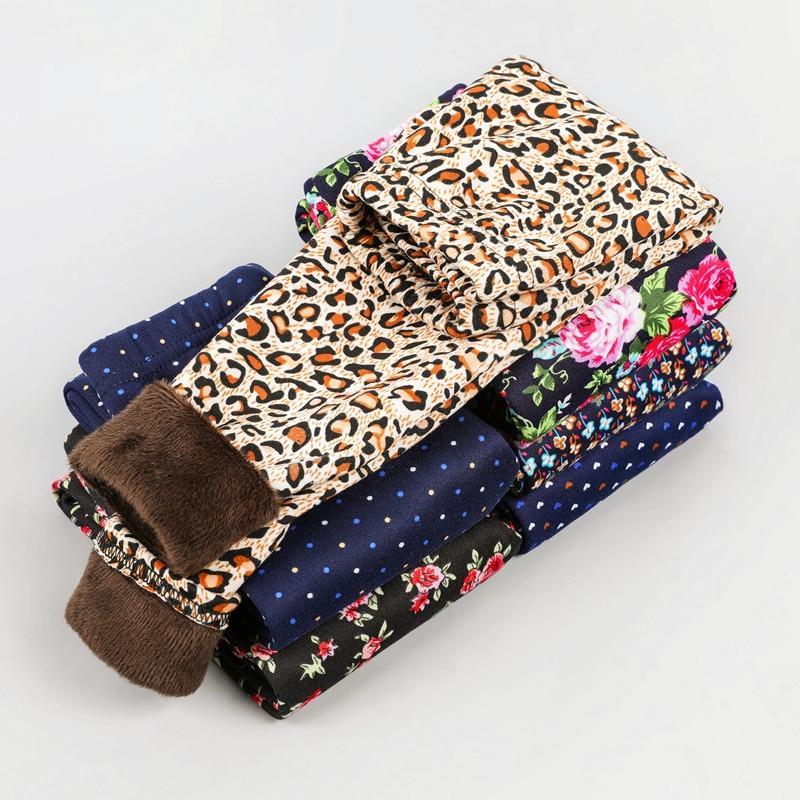 Velvet Pants Trousers Leggings Flowers Leopard Vintage Girl Autumn Warm Thick Plus Winter
