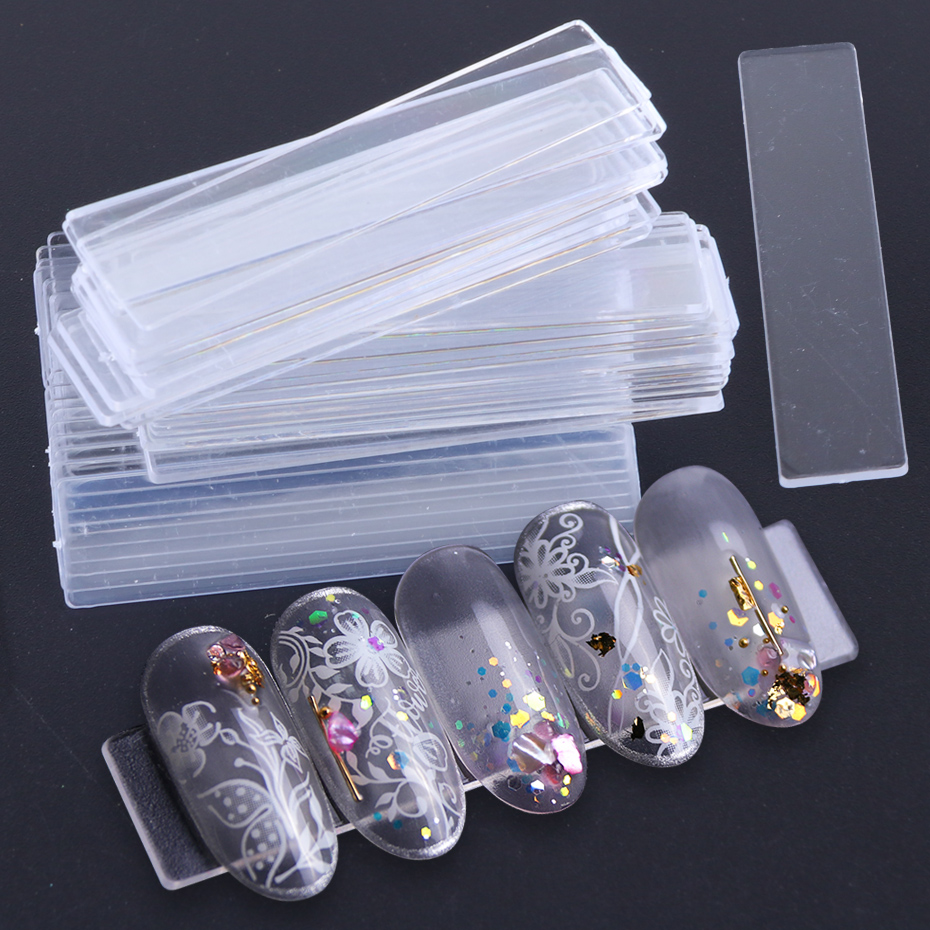 40pcs False Nail Tips Nail Art Display Stand Transparent Practice Acrylic Gel Polish Holder Strip Manicure Showing Tools JI151