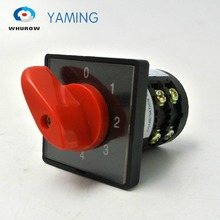 цена на 4 position rotary switch 380V 20A 2 phases electric motor selector control cam switch Manufacturing HZ5B-20/2 red handle