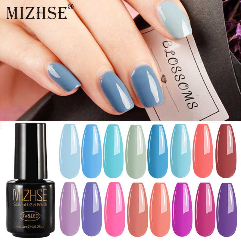 Mizhse Nail Art UV Nail Gel Polish Rendam Off Warna Biru UV Nail Gel Lacquer Semi Permanen LED Gel Nail enamel Lem UV