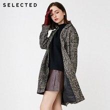 Избранное женское осенне-зимнее шерстяное пальто в клетку   418427525