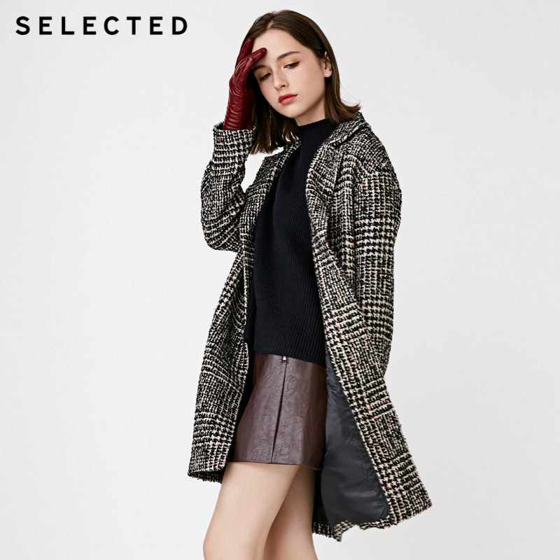 SELECTED Women's Autumn & Winter Plaid Woolen Coat S|418427525