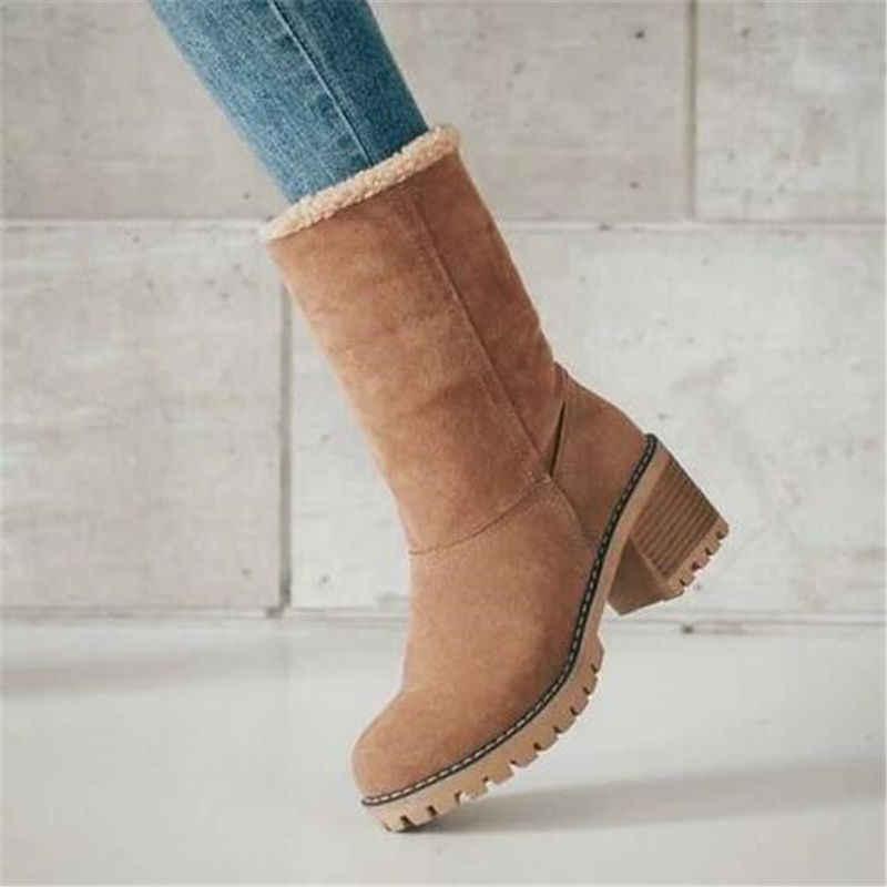Phụ Nữ Bộ Lông Mùa Đông Ấm Ủng Nữ Len Nam Boot Giày Ankle Boot Giày Thoải Mái Plus Size 35-43 Thường Ngày phụ Nữ Giữa Giày