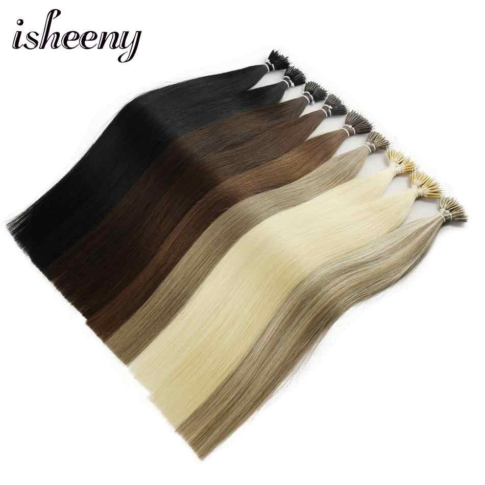 "Isheeny 14 ""18"" 22 ""Remy Micro Kralen Hair Extensions In Nano Ring Links Human Hair Straight 9 kleuren Blond Europese Haar"