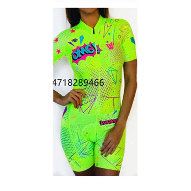 Cor fluorescente roupas femininas conjuntos de ciclismo triathlon terno manga curta skinssuit conjuntos maillot ropa ciclismo macacão macacão ciclismo feminino kafitt roupas femininas com frete gratis roupa de ciclismo 4