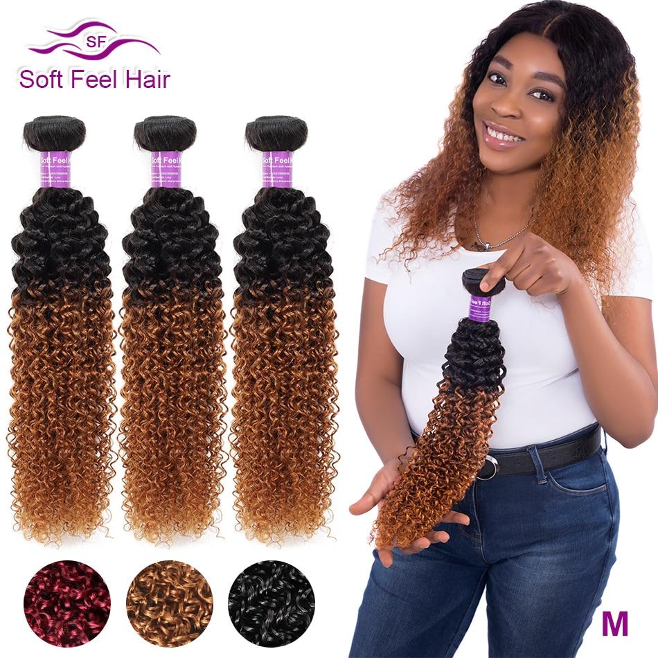 Soft Feel Hair 1/3/4Pcs Ombre Brazilian Kinky Curly Hair Bundles Weave Human Hair Extensions 1B/30 Brown Remy Ombre Hair Bundles