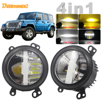 For Jeep Wrangler JK 2007 2015 Car Multifunction LED Bulb Canbus Fog Light + Headlight + DRL With Harness Wire 12V High Bright