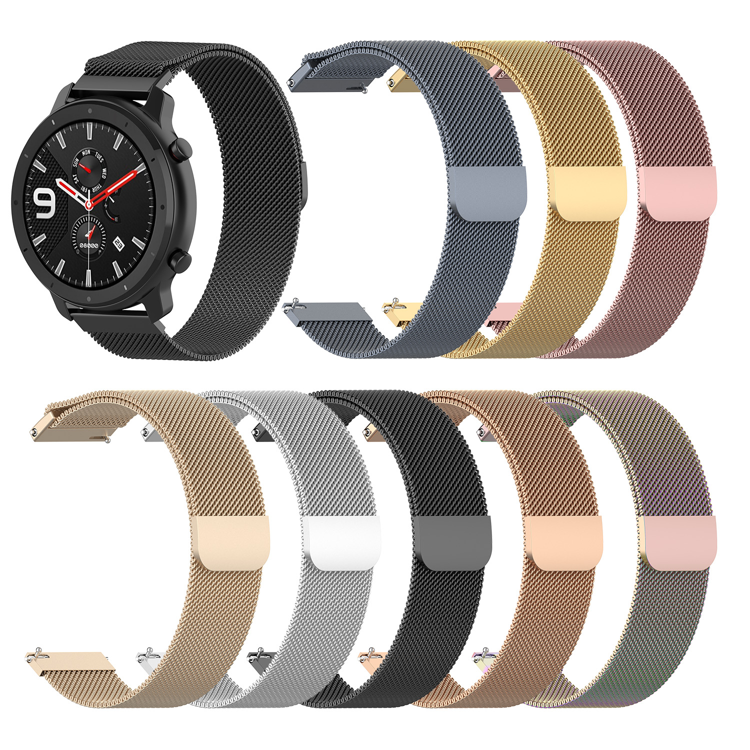 For Huami Amazfit GTR 47mm Smart Watch Steel Belt Milan Loop Magnetic Watch Strap 22mm Width For LG W100 For ZTE For Samsung