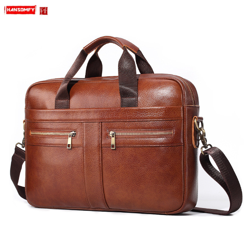 New Genuine Leather Men's Briefcase Business Men Handbag Laptop Bag Male Shoulder Messenger Bag Soft Cowhide Leather Travel Bags
