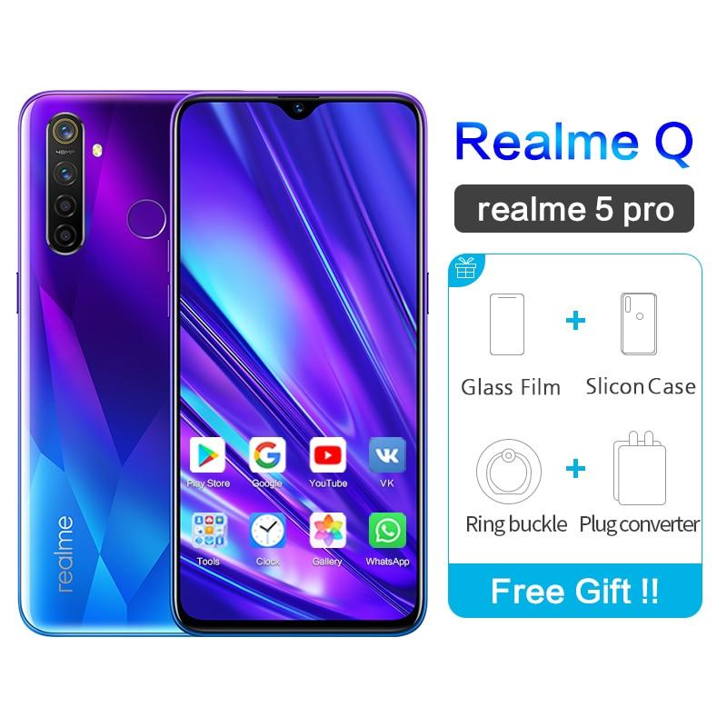 Realme 5 Pro Google Play Realme Q 6.3''Full Screen Waterproof VOOC Octa Core 2340×1080 5cameras 48MP Face ID Realme5 Smartphone