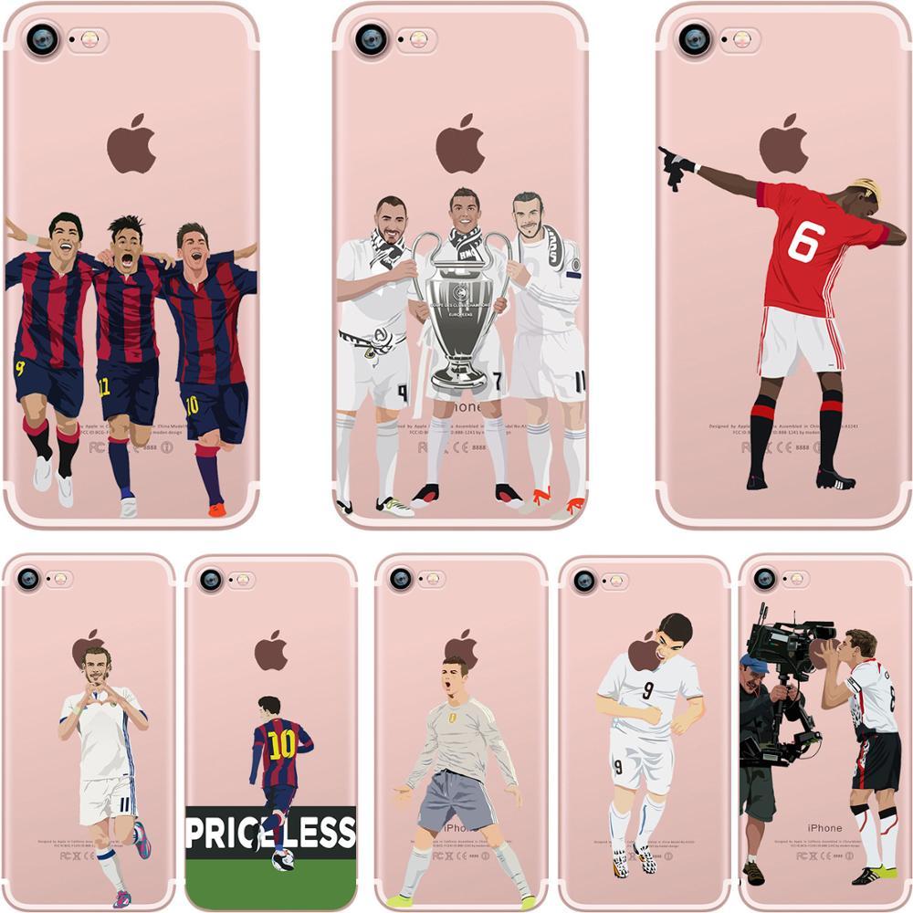 Futebol dos desenhos animados jogador de futebol claro tpu caso capa para iphone 6s 7 8 plus x xs max xr 12 11 pro max casos silicone capa completa