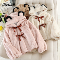 HELIAR Women Cute Style Cashmere Coat Girl Teddy Bear Hooded Velvet Jacket For Women Warm Female Winter Warm Kawaii Coat Femme