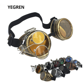 Cosplay Steampunk Goggles Industrial Magnifier Retro Gothic Eyeglasses Halloween Props Punk Glasses Red Blue Green Yellow Black halloween cosplay steampunk plague doctor mask bird beak props gothic masks