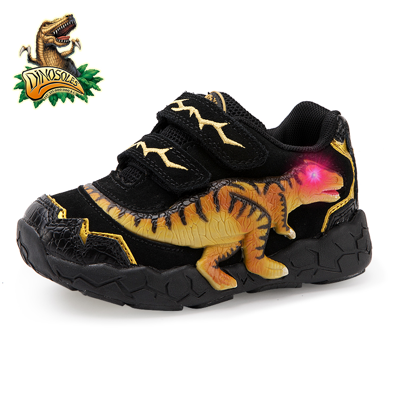 Image 3 - DINOSKULLS 3 9 Years Boys Dinosaur Glowing Sneakers 2019 Autumn Kids LED Sports Shoes With Light Leather Childrens T rex ShoesSneakers   -
