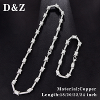 D&Z 1 Set Hip Hop Iced Out Paved CZ Barbed Wire Necklace Chain For Hipster Copper with AAA Zircon Chaine Homme