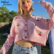 秋の桜刺繍カジュアルニットセーター女性シックなvネック長袖特大カーディガンかわいいシングルブレストクロップトップ