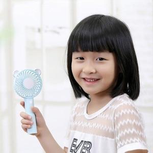 Image 5 - Bear Air Fan Cute Cartoon Handheld USB Rechargeable Fans LED Light Portable Air Cooling Fan Mini Ventilador portátil Desktop