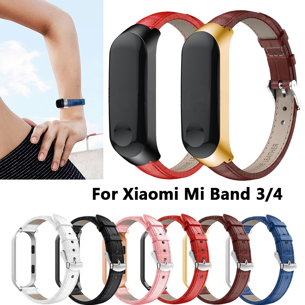 Stainless Bracelet For MiBand 4 3 Wristbands Replacement Strap For Xiaomi Mi Band 4 3 Colorful Leather M Band 4 3 Metal Strap PU