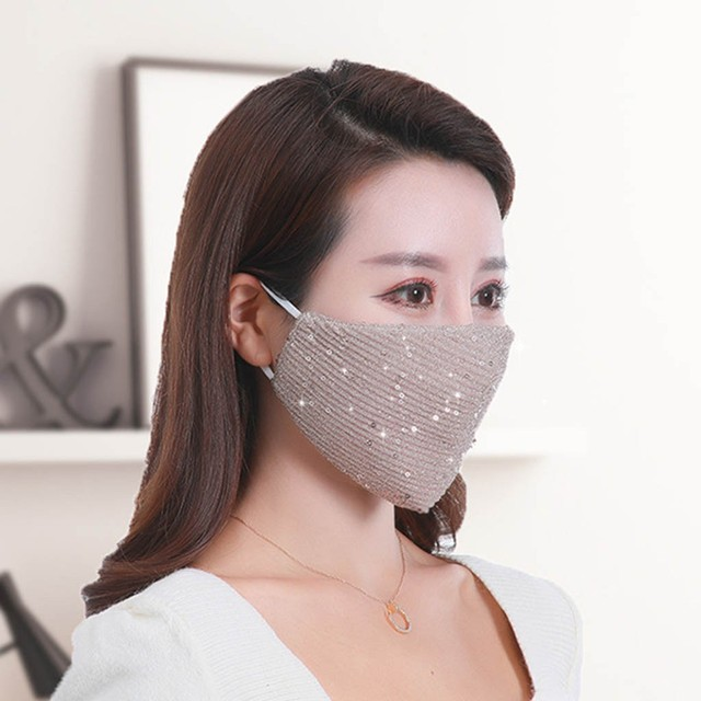 #H20 Sequin mask Cotton Keep Warm anti-haze Masks Shining Party unisex Breathable Mouth Respirator Washable Face Cover Masks 5
