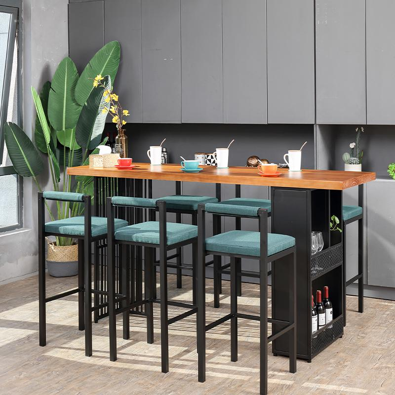Bar Table Household Coffee Shop Multi Function Bar Table And Chair Combination Living Room Simple Wall And Window Solid Wood Hig (A)