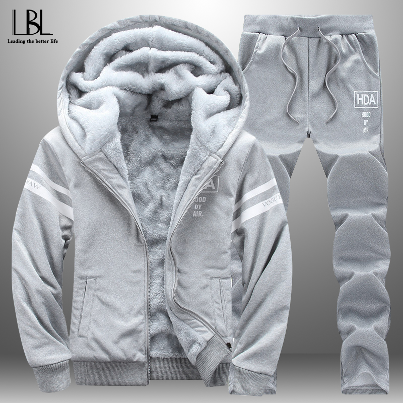 2019 New Fashion Suit Casual Men's Sportswear Winter Autumn Men Outwear Tracksuit 2 Piece Hoodie + Sweatpant Set Fitness Clothes