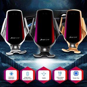 Image 2 - Soporte de teléfono R3 para coche, Sensor inteligente, soporte de carga inalámbrica, 10W, Qi, cargador inalámbrico rápido Simple para Iphone 8 Plus X, Huawei