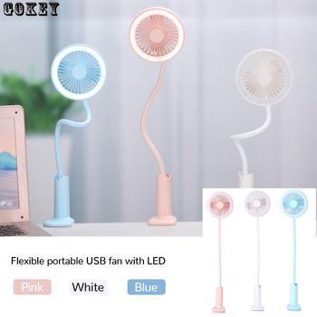 Clip Fan With Led Light Portable Mini Fan Flexible  360 Rotating Handhold Min Fan Usb Battery Fan Portable Usb Fan With Led xiaomi youpin vh portable handhold fan