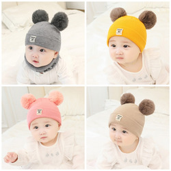 0-24M Baby Hat Winter Warm Wool Knit Hat With Furry Balls Pompom Toddler Cute Lovely Beanie Cap Newborn Photography Props Gifts