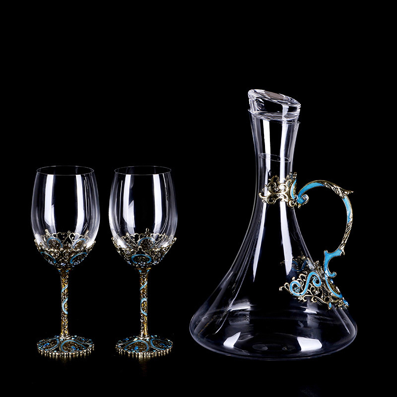 Retro Nordic style Red Wine goblet enamel color wine Glass Cups Large Capacity Wine Glass Champagne glass and decanter