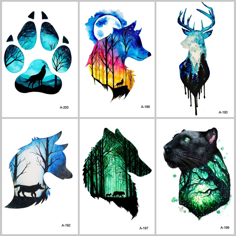 WYUEN Hot Design Wolf Head Animal Temporary Tattoo For Men Waterproof Tatoo Sticker Fashion Body Art A-027