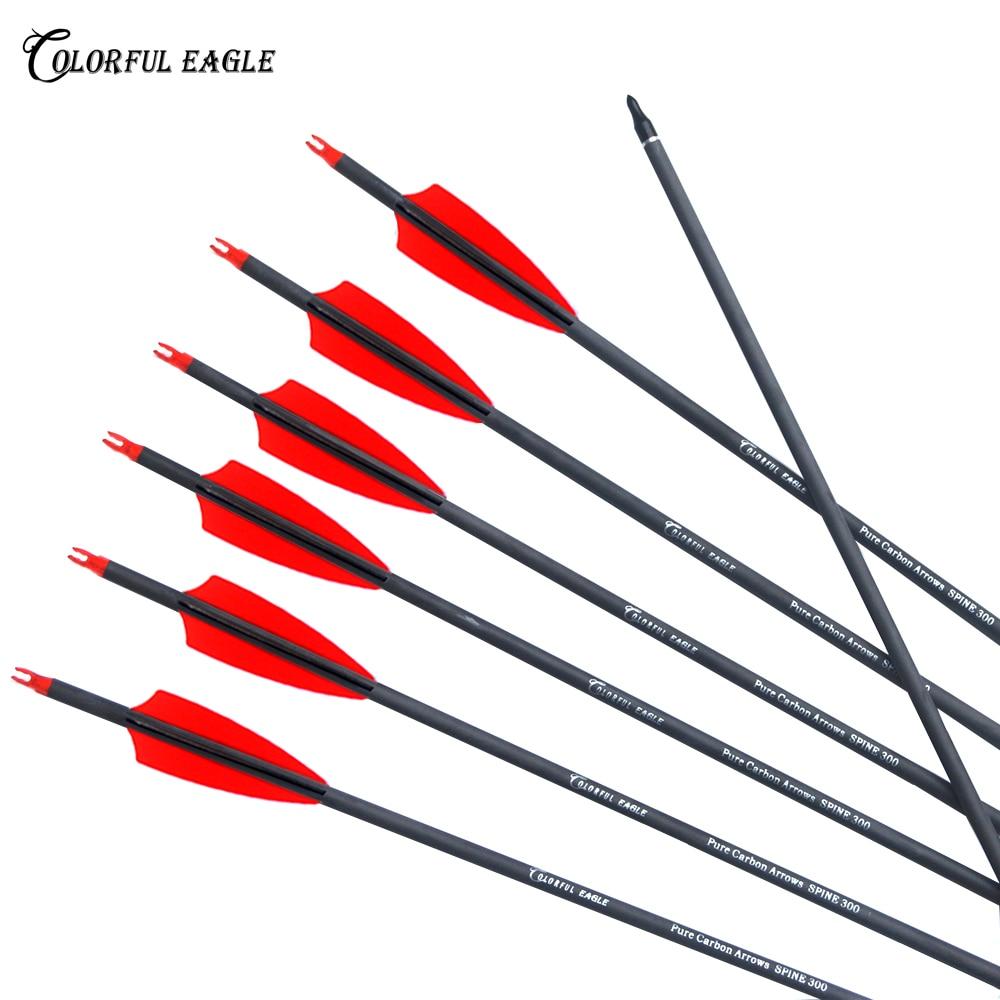 Стрелы из чистого углерода, 28/30/31 дюймов, стрелы для охоты 300 400, нацеленные стрелы со съемными наконечниками для составного лука или рекурсив...