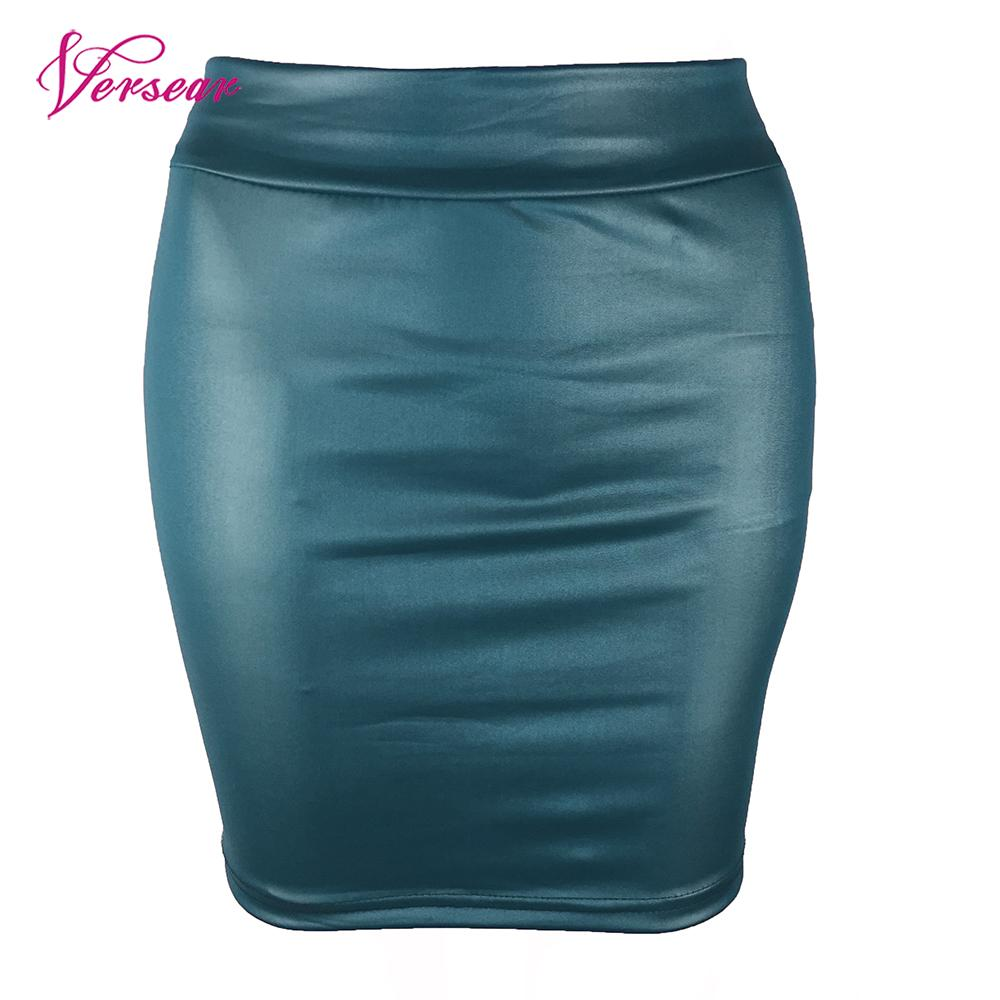 Versear Fashion Sexy Women Mini Skirt Solid Color PU Leather Plus Size Skirt Pencil High Waist Bodycon Short Skirt Jupe Femme