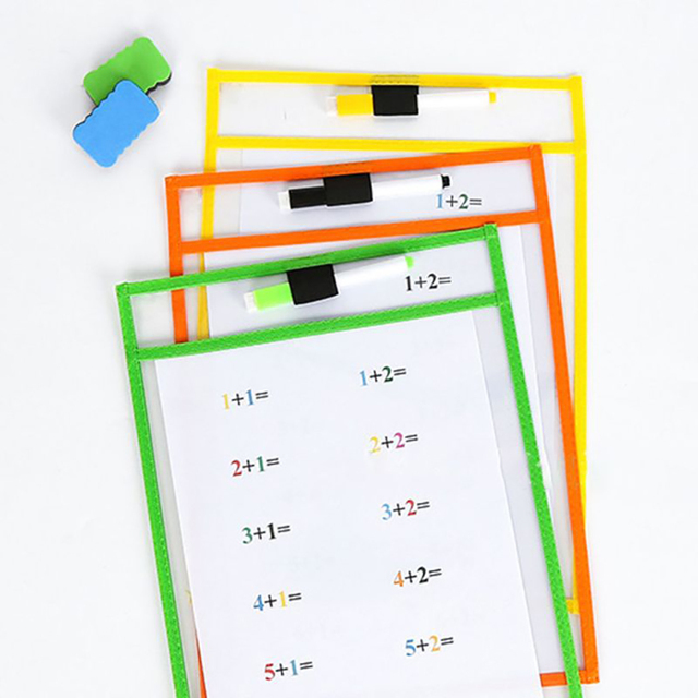 10pcs Resuable DryErase Pocket Bag Reusable Sleeves Kid Write Wipe Tool Pock Pockets Bags 6