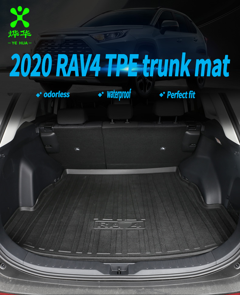 Black Heavy Duty Cargo Floor Mat-All Weather Trunk Protection, Durable HD TPO Fit For TOYOTA RAV4 2020
