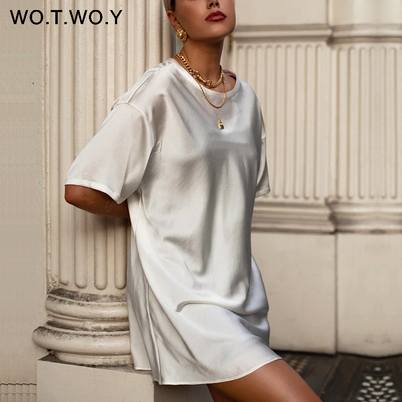 WOTWOY Summer Casual Solid T-Shirt Dress Women Basic Loose Mini Dress Women Short Sleeve Black White Silk Tops Femme Soft 2020