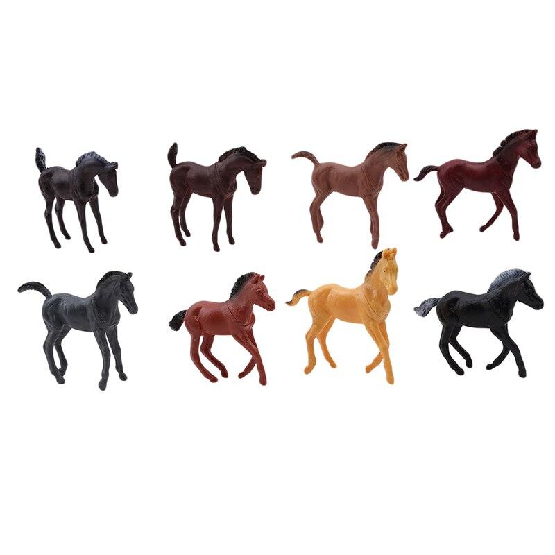 8 шт./компл. мини полые Тип Пластик сельскохозяйственных животных игрушки фигурку имитируящая лошадь модель аниме фигурка