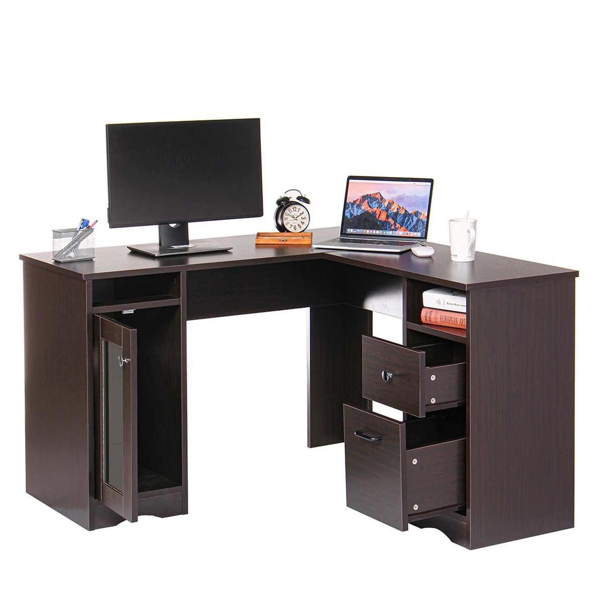 Picture of: L Shaped Corner Computer Desk Large Capacity Laptop Stand Desktop Study Table Office Furniture Workstation Home Gaming Table Laptop Desks Aliexpress