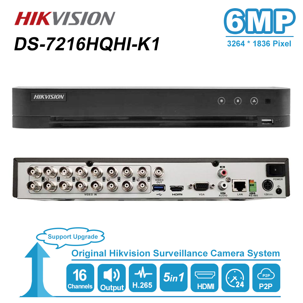 Hikvision 16CH Max Support 6MP Turbo HD DVR Video Recoder 5 in <font><b>1</b></font> for HDTVI/AHD/CVI/CVBS/IP video input H.265 pro+ DS-7216HQHI-K1 image
