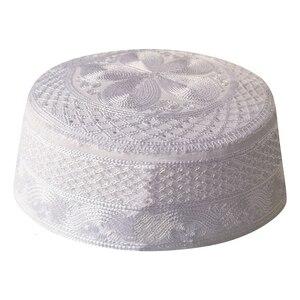 Image 1 - Musulman White Prayer Hats Beanie kippah Arabic Islamic Caps For Men Headscarf Islamic Man Bonnet India Muslim Weaving Halal Hat