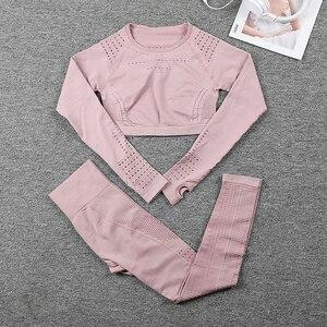 Image 5 - Vrouwen Sportkleding Pak Naadloze Gym Kleding Vrouwen Gym Yoga Set Fitness Leggings + Cropped Shirts Workout Sets Trainingspak Outfits