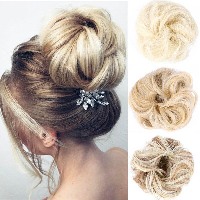 Полностью Звездный натуральный пучок волос, шиньон, искусственные волосы, свадебные пончики, шиньон для женщин, синтетическая обертка, кудр...