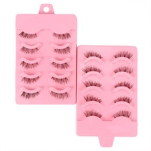 Fake Eyelashes Messy Handmade 5-Pairs Thread Cotton Stage Stems Natural-Crisscross