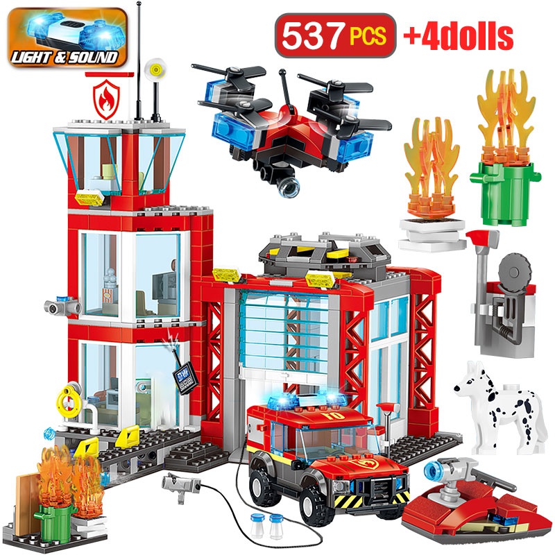 537pcs Police Fire Station Fire Truck Building Blocks Legoingly City Police Helicopter Bricks Sets Education Toys for Kids