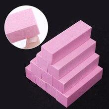Formulário Nail Buffers 1 definir Rosa Branca de Arquivo Para Gel UV Branco Lixa de Unhas Buffer Do Bloco Polonês Pedicure Lixar Lixa de Unha ferramenta da arte do prego