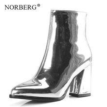 NORBERG fashion women shoes autumn / winter bright patent leather pointed sexy high-heeled Martin boots thick with short boots short boots women thick heeled women shoes autumn winter boots women high heeled martins boots ankle high boots women 3 41