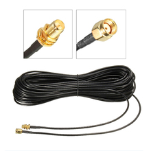 цена на 20m Pure Copper Gold Plated Cables Male to Female Antenna RG174 RP-SMA Extension Cable Wire WiFi Wi-Fi For Router Wlan