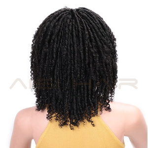 Image 4 - AISI HAIR 14 Soft Dreadlocks Hair Wig Short Synthetic Wigs For Black Women Black Brown Crochet Braids Wigs Heat Resistant