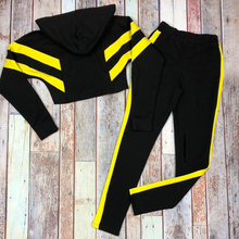 2019 New Ladies Running Sport Women Set Casual Suit Striped Color Matching Sweater Trousers 2 Piece Tracksuit for Jogging ZOGAA